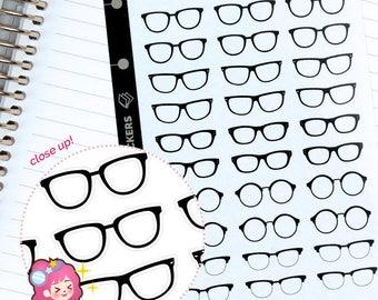 Glasses sticker, cute sticker, rest day sticker, planner sticker, Black glasses sticker
