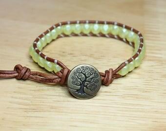 Yellow Pearlescent Leather Wrap Bracelet, Beaded Wrap Bracelet, Beaded Leather Bracelet, Boho Bracelet, Handmade Bracelet