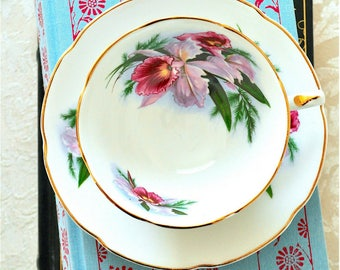 Royal Grafton Pink Orchids Teacup and Saucer Fine Bone China England 'RGR147'