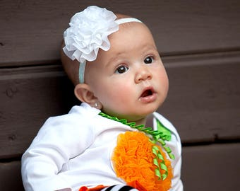 White Baby Bow - Glitter Baby Headband - White Baby Headband - Christening Headband - Baptism Baby Bow