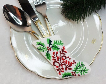 Christmas Silverware Holder Christmas table decoration Christmas stocking Embroidered Santa's small sock Tree toy Christmas beautiful gift