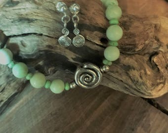 Lemon Chrysoprase Necklace and Earrings Set