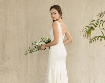 Ivory lace marmaid wedding dress, lace sheath bridal gown, high and low evening dress  / Lauren