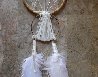 Geometric Crystal Quartz Dream Catcher With Gold Dipped Feathers