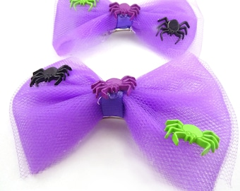 "4"" Purple and Black Spider Halloween Pig Tail Bows, Spider Tulle Bow, Halloween Hair Bow, Girl's Hair Bow, Spider Hair Bow, Halloween Bow"