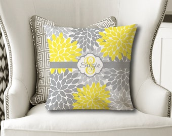 Monogram Flower Throw PILLOW, Floral Yellow Gray, Flower Pillow Cover or With Insert, Yellow Flower Matching Bedding, Girl Name Pillow