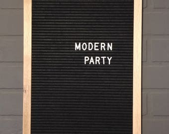 """12x18"""" Letter Board - Oak and Black Felt Letter Board - Includes White 3/4"""" Letter Set With Over 300 Characters - Modern Party"""