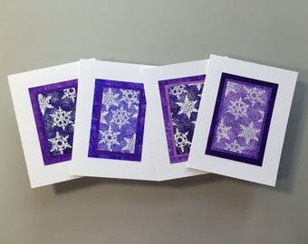 Snowfall on amethyst embossed blank cards (set of 4 assorted), individually handmade: holiday cards, solstice, SKU BLA21057