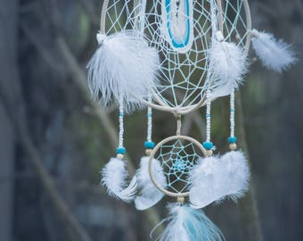 double white and blue dreamcatcher