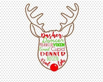 Reindeer SVG,Reindeer Names SVG,Reindeer Face SVG,Reindeer Clipart,Christmas Svg,Rudolph Svg,Reindeer, Silhouette, Cricut, Cut File, Dxf