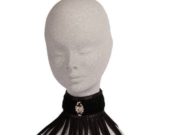 Black collar with fringes-black choker
