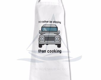 Land Rover Apron, Rather Be Playing, Land Rover, Defender, Truck, Novelty Apron, Cars, Defender Apron, Land Rover Apron