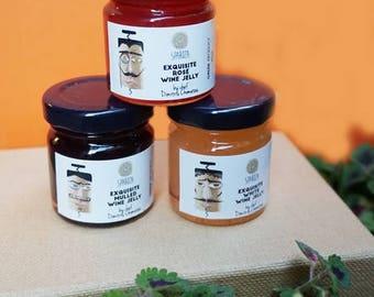 Wine Jelly Mini Set, Wine Jelly Sample Set, Wine Jelly Taster Pack, Gourmet Gift, Wine Jam, Merlot Jelly, Rose Jelly, White Wine Jelly
