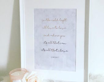 Rose Gold & Marble First Dance Wedding Personalised Frame
