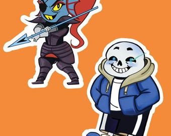 Undertale Sans and Undyne Stickers
