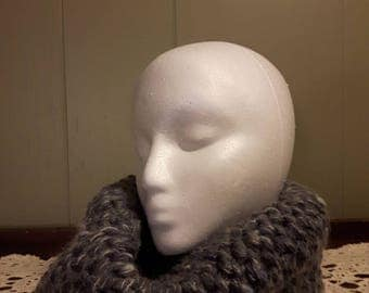Grey Heather Knitted Cowl