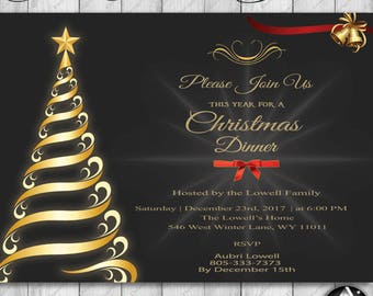 Christmas dinner invitation, Xmas, Christmas party invitations, printable, Christmas invitation, Holiday party invitation, Winter Invitation