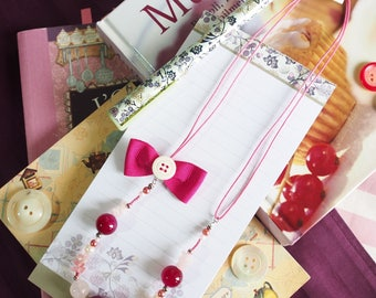 Fuchsia necklace with bow, agate and quartz