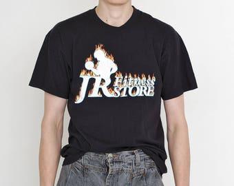 VINTAGE Black Fitness Logo Print Retro Style T-Shirt
