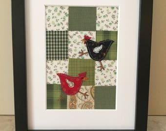 Handmade Vintage Viyella Textile Chicken Hen Framed Picture