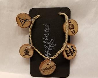 Wood Burned & Braided Hemp Bracelet