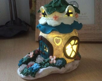 Polymer clay fairyhouse and garden tea-light/nightlight