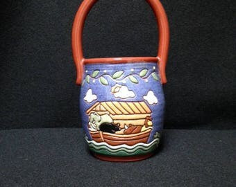 OOAK Redware by Earthen Vessel Co. Hand Painted and Signed Noah's Ark Scene Handled Jar