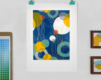 Original Screen Print Illustration Circles Dots Limited Edition