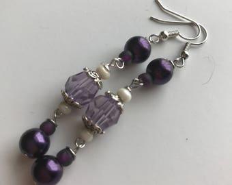 Purple Beaded Dangle Earrings, Purple Beaded Earrings, Purple Dangle Earrings, Purple Earrings, Dangle Earrings Purple, purple clear earring