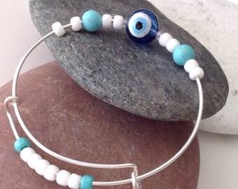 Evil Eye Bracelet for Men, Greek eye bracelet, Turkish eye bracelet, Men's bangle, Expandable bracelet, Boyfriend present, Husband present
