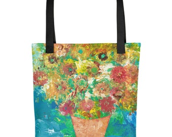 Sunflowers in a Vase - Amazingly beautiful full color tote bag with black handle featuring children's donated artwork.