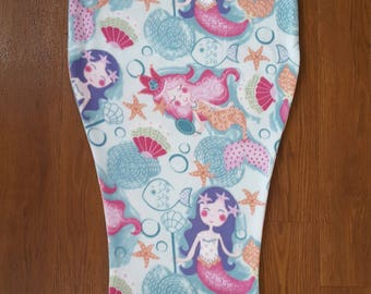 Fleece Mermaid Tail Blanket - Mermaid Fabric with Pink Band/Fin