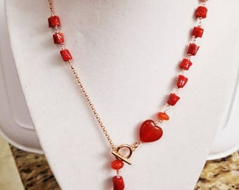 Italian Red Coral & Natural Carnelian Necklace,Classy Girlfriend Gift, Valentines Gift