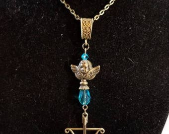 "18"" Bow and Arrow Cupid necklace with Light Blue Crystal Beads"