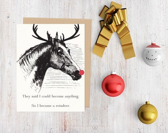 Equestrian themed Greeting Card, Reindeer card, horse holiday, onehorsethreads
