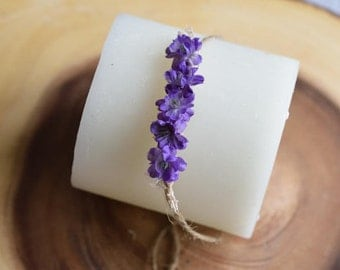 Newborn floral tieback, Purple tieback, purple headband, newborn prop.
