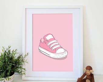 Baby Converse in Pink - Nursery Print - Shordy's - Children's Wall Art - Nursery Decor