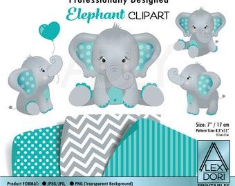 Elephant art, teal baby shower, gray, baby elephant, jpeg print art, baby balloons, nursery art