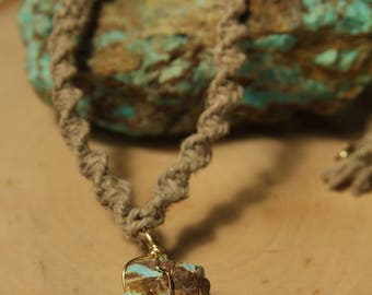 Wrapped Turquoise with hemp chain