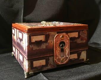 Steampunk repurposed Trinket Box