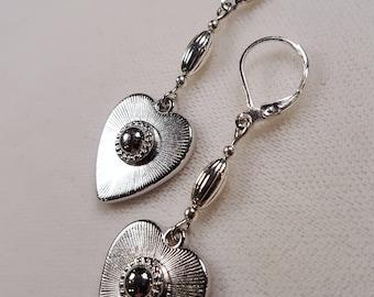 Vintage Silver Hearts Dangle Earrings