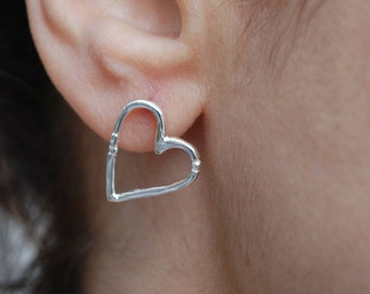 Sterling Silver Heart Earrings-Heart Stud Earrings