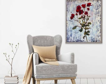 Roses, Oil on board, Oil Painting, Oil painting flowers, Textured Painting, Original oil painting, impasto,Red roses. 24x19.3 inch (61x49cm)