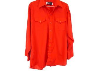 Vintage Red Western Shirt, Men's XL, 70s/80s Panhandle Slim