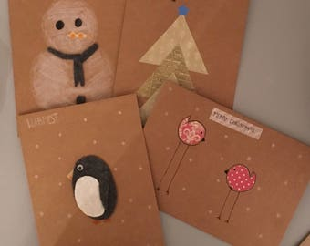 Pack of 4 Handmade Christmas Cards