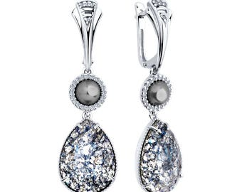 925 Silver Earrings with Pearls & Swarovski Crystals Russian Jewelry For Women