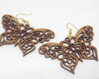 1 pair wooden earring - 62mm x 37mm - 1pair- sewing, wooden earring, apparels   - HA-06