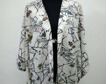 Japanese haori kimono white floral motif kimono jacket /kimono cardigan/kimono robe/#009