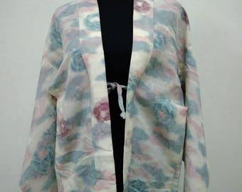 Japanese haori kimono blue pink floral kimono jacket /kimono cardigan/kimono robe/#056