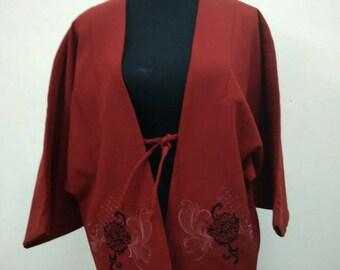 Japanese haori kimono red floral embroidery kimono jacket /kimono cardigan/vintage kimono robe/#062
